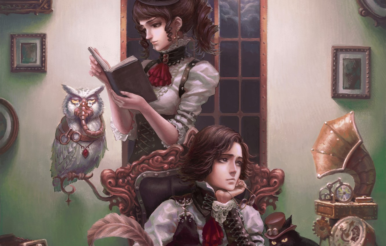 Photo wallpaper cat, girl, owl, pictures, steampunk, book, guy, gramophone