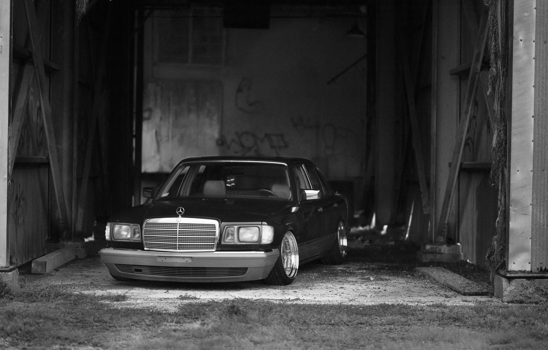 Photo wallpaper Mercedes, Stance, W126