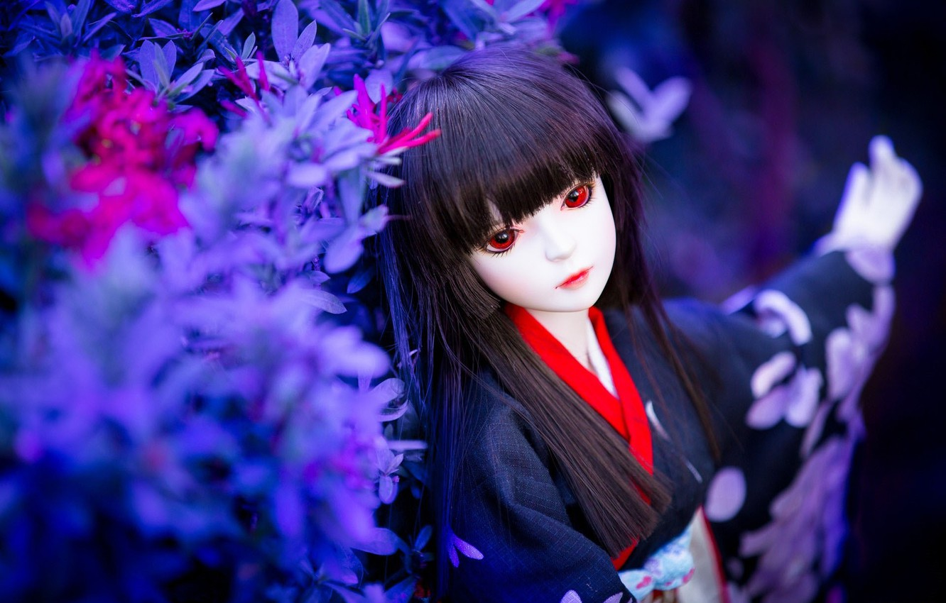 Photo wallpaper vegetation, toy, doll, brunette, geisha, red eyes