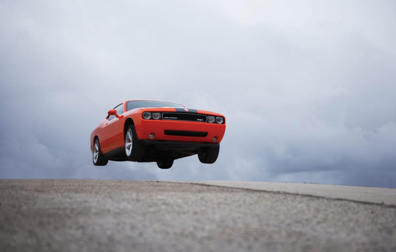 Photo wallpaper road, machine, auto, red, flight, road, auto, dodge