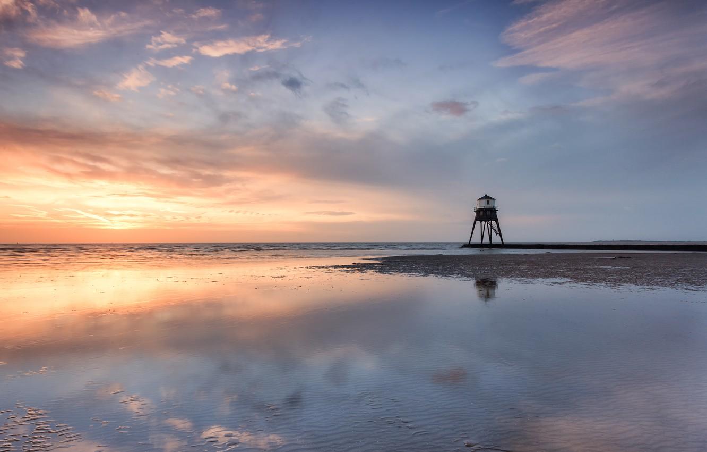 Photo wallpaper sea, beach, nature, reflection, lighthouse