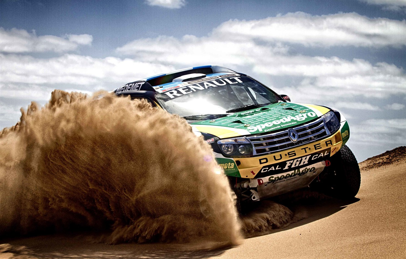 Photo wallpaper Sand, Auto, Sport, Machine, Race, Renault, Dakar, SUV, Rally, The front, 2014