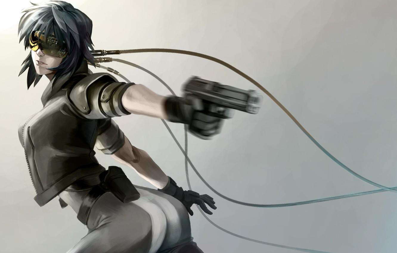 Photo wallpaper girl, gun, weapons, movement, wire, art, glasses, ghost in the shell, kusanagi automotive, pekepeke0