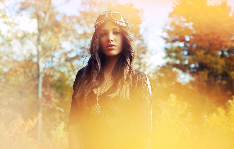 Photo wallpaper autumn, girl, photo, brunette, glasses, amulet, photo, photographer, David Olkarny