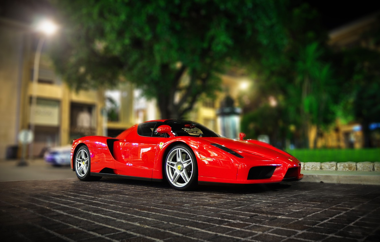 Photo wallpaper night, the city, lights, Parking, red, ferrari, enzo