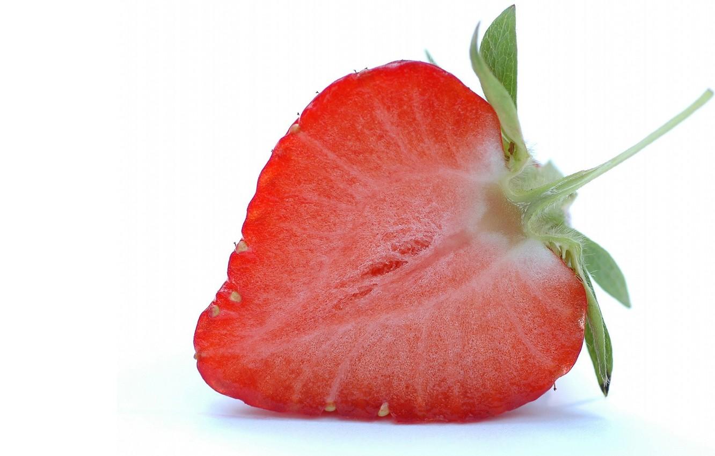 Photo wallpaper white, Strawberry