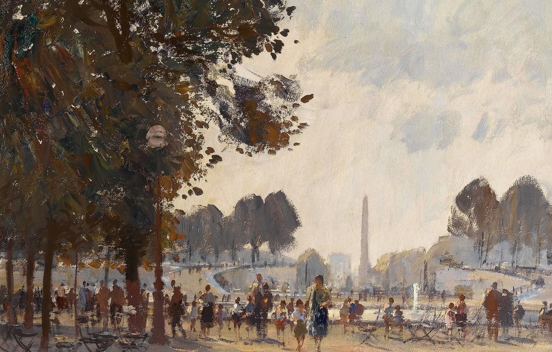 Photo wallpaper picture, the urban landscape, Edward Seago, Evening. The Tuileries Garden. Paris