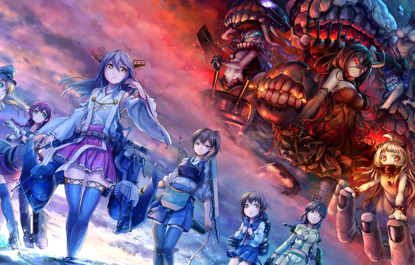 Photo wallpaper the sky, clouds, weapons, girls, the ocean, anime, bow, art, monsters, kantai collection, haruna, wo-class …