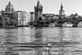 Picture black and white, Praha, Charles bridge, Charles bridge, Josefov, Josefov, swans, Vltava, The Czech Republic, ...
