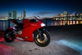 Picture red, Ducati, red, motorcycle, the city, lights, 899, ducati, twilight
