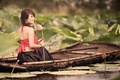 Picture girl, boat, mood, Lily, Asian