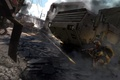 Picture truck, shots, Arma 3, art, Hemmit, the city, battle, fighters
