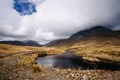 Picture stones, lake, mountains, Scotland, grass, clouds