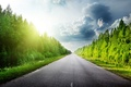 Picture clouds, nature, asphalt, road, trees, clouds, the sky, grass, forest