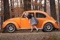 Picture autumn, girl, pose, beetle, blonde, car, Volkswagen