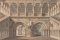 Picture castle, picture, ladder, columns, painting, statues, painting, Karl Friedrich Schinkel