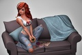 Picture graphics, magazines, sofa, rendering, red, Mary Jane Watson, Mike, girl, jeans, a Cup of coffee, ...