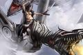 Picture Girl, sword, fantasy, robot, fight, dragon, warrior