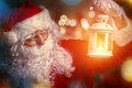 Picture glare, fire, holiday, hat, New Year, glasses, lantern, gloves, coat, beard, Santa Claus