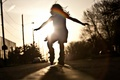 Picture girl, road, dance, mood