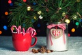 Picture branches, new year, nuts, bokeh, pine, Christmas, bumps, candy, Cup, Bank, holiday, mug