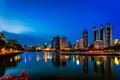 Picture reflection, Bangkok, Thailand, lights, lake, Benjakiti Park, night, mirror, blue sky, horizon