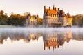 Picture lake, Missillac, reflection, Château de la Bretesche, France, castle