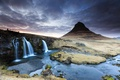 Picture the volcano, mountain, Kirkjufell, waterfall, Iceland, clouds, river, spring, sunset