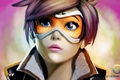 Picture blizzard, wool oxton, face, art, girl, tracer, glasses, overwatch
