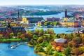 Picture bridges, home, Stockholm, Sweden, panorama, trees, the city, boats, river, landscape