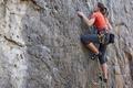Picture woman, mountain, equipment, climbing
