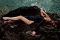 Picture stones, black, singer, water, girl, Lana Del Rey, shoes, Lana Del Rey, feet, dress