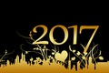 Picture ornament, black, black background, 2017, new year, floral ornament, hearts, Golden, new 2017, plants, background, ...