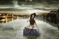 Picture girl, rain, suitcase