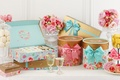Picture flowers, roses, bouquet, cookies, glasses, box, decor, bows, macaroon, sets
