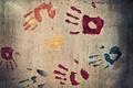 Picture fingers, wall, imprint, colours, hand, prints, texture, paint