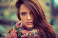 Picture portrait, face, hair, beautiful, girl, scarf, blue, eyes