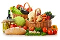 Picture greens, wine, red, white, apples, mushrooms, bottle, bow, bread, eggplant, pepper, banks, fruit, vegetables, tomatoes, ...