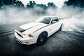 Picture rtr, speed, ford, asphalt, white, road, mustang, car, sportcar, forest, sports car