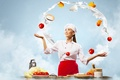 Picture tomatoes, vegetables, peppers, milk, brown hair, smile, cabbage, eggs, girl, cook, kitchen