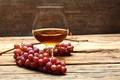 Picture table, glass, grapes, cognac