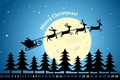 Picture stars, night, the moon, tree, new year, Christmas, new year, sleigh, deer, Santa, calendar, December, ...