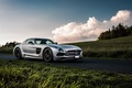 Picture Mercedes-Benz, Black, SLS, Series, AMG, Road, Sky, Front, Grass