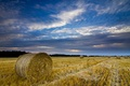 Picture field, the sky, clouds, clouds, England, the evening, harvest, hay, bales, UK, straw, blue, County, ...