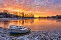 Picture autumn, sunset, river, boat