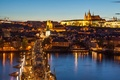 Picture Hradcany, Hradčany, Charles bridge, lighting, architecture, Vltava, the city, lights, Prague, Czech Republic, Prague, building, ...