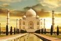 Picture Taj Mahal, River, Yamuna, Agra, India