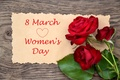 Picture flowers, congratulations, red, women's day, roses, March 8, the inscription