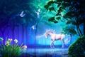 Picture forest, flowers, birds, lake, horse, art, unicorn, daffodils, takaki