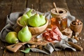 Picture pear, nuts, fruit, Anna Verdina, ham, honey, meat, green, dishes